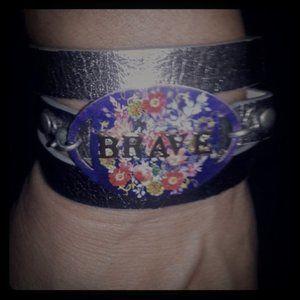 """Jewelry - """"Brave"""" Leather Wrap Bracelet"""
